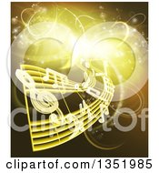 Clipart Of Floating Sheet Music And Notes Over Gold And Yellow Neon Lights Royalty Free Vector Illustration by AtStockIllustration