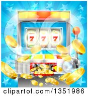 Clipart Of A Casino Slot Machine Jackpot Spitting Out Coins Over A Blue Star Burst Royalty Free Vector Illustration by AtStockIllustration