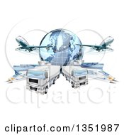 Clipart Of A 3d Blue Earth Globe And Cargo Logistics Modes Trains Planes Big Rig Trucks And Ships Royalty Free Vector Illustration by AtStockIllustration
