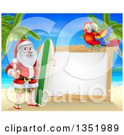 Clipart Of A Christmas Santa Claus Giving A Thumb Up And Standing With A Surf Board On A Tropical Beach By A Blank White Sign With A Scarlet Macaw Parrot Royalty Free Vector Illustration