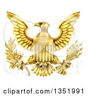 Clipart Of The Great Seal Of The United States Gold Bald Eagle With An American Flag Shield Holding An Olive Branch And Arrows Royalty Free Vector Illustration by AtStockIllustration