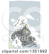 Clipart Of A Woodcut Locomotive Train On A Rail Road Against Mountains And Sky Royalty Free Vector Illustration by xunantunich