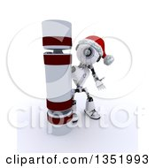 Clipart Of A 3d Futuristic Robot Presenting A Giant Christmas Cracker On A Shaded White Background Royalty Free Illustration