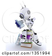 Clipart Of A 3d Futuristic Robot Reading And Sitting On A Stack Of Colorful Books On A Shaded White Background Royalty Free Illustration