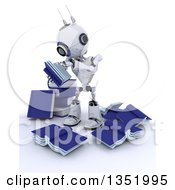 Clipart Of A 3d Futuristic Robot Reading In A Circle Of Messy Books On A Shaded White Background Royalty Free Illustration