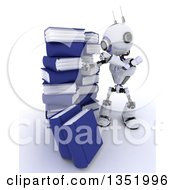 Clipart Of A 3d Futuristic Robot Searching In A Stack Of Books On A Shaded White Background Royalty Free Illustration