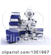 Clipart Of A 3d Futuristic Robot Standing And Surrounded By Books On A Shaded White Background Royalty Free Illustration