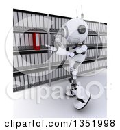 Clipart Of A 3d Futuristic Robot Searching For A Binder In An Archive Room On A Shaded White Background Royalty Free Illustration