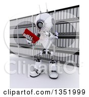 Clipart Of A 3d Futuristic Robot Reading From A Binder In An Archive Room On A Shaded White Background Royalty Free Illustration