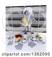 Clipart Of A 3d Futuristic Robot Dropping Files In In An Archive Room On A Shaded White Background Royalty Free Illustration