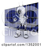 Clipart Of A 3d Futuristic Robot Reading A Book Against Library Shelves On A Shaded White Background Royalty Free Illustration