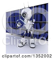Clipart Of A 3d Futuristic Robot Reading A Book And Thinking Against Library Shelves On A Shaded White Background Royalty Free Illustration