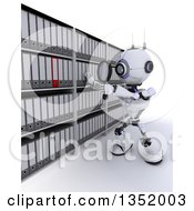 Clipart Of A 3d Futuristic Robot Searching Binders With A Magnifying Glass In An Archive Room On A Shaded White Background Royalty Free Illustration