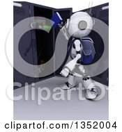 3d Futuristic Robot School Student Putting Books In A Locker On A Shaded White Background