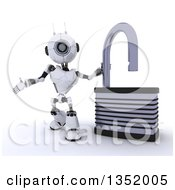 Clipart Of A 3d Futuristic Robot Presenting By An Open Padlock On A Shaded White Background Royalty Free Illustration