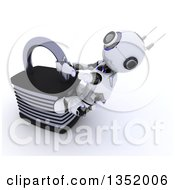 Clipart Of A 3d Futuristic Robot Struggling To Open A Padlock On A Shaded White Background Royalty Free Illustration