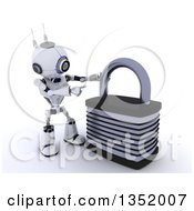 Clipart Of A 3d Futuristic Robot Pointing To A Giant Padlock On A Shaded White Background Royalty Free Illustration