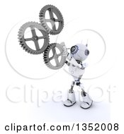 3d Futuristic Robot Adjusting Gear Cog Wheels On A Shaded White Background
