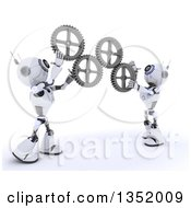 Clipart Of 3d Futuristic Robots Adjusting Gear Cog Wheels On A Shaded White Background Royalty Free Illustration