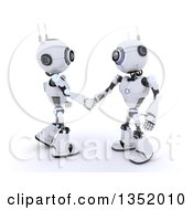 Clipart Of 3d Futuristic Robots Shaking Hands On A Shaded White Background Royalty Free Illustration