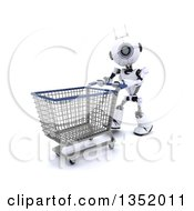 Clipart Of A 3d Futuristic Robot Pushing An Empty Shopping Cart On A Shaded White Background Royalty Free Illustration