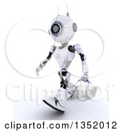 Clipart Of A 3d Futuristic Robot Walking With A Shopping Basket On A Shaded White Background Royalty Free Illustration by KJ Pargeter