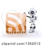 Clipart Of A 3d Futuristic Robot Presenting An Orange RSS Symbol Icon On A Shaded White Background Royalty Free Illustration