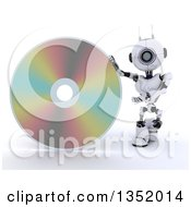 Clipart Of A 3d Futuristic Robot Presenting A Cd Or Dvd On A Shaded White Background Royalty Free Illustration