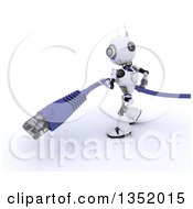 Clipart Of A 3d Futuristic Robot Carrying A Giant RJ45 Data Cable On A Shaded White Background Royalty Free Illustration