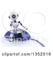 Clipart Of A 3d Futuristic Robot Sitting And Presenting On A Giant Computer Mouse On A Shaded White Background Royalty Free Illustration