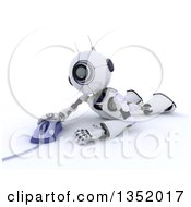 Clipart Of A 3d Futuristic Robot Laying On The Floor And Using A Computer Mouse On A Shaded White Background Royalty Free Illustration