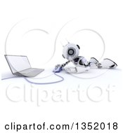 Clipart Of A 3d Futuristic Robot Using A Laptop On The Floor On A Shaded White Background Royalty Free Illustration