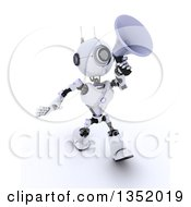Clipart Of A 3d Futuristic Robot Walking And Announcing With A Megaphone On A Shaded White Background Royalty Free Illustration