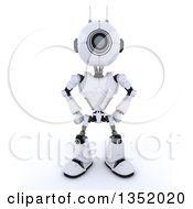 Clipart Of A 3d Futuristic Robot With Hands On His Hips On A Shaded White Background Royalty Free Illustration