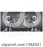 Clipart Of 3d Futuristic Robots Guarding A Save Vault On A Shaded White Background Royalty Free Illustration