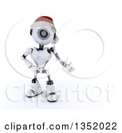 Clipart Of A 3d Futuristic Robot Wearing A Christmas Santa Hat And Presenting Text Space On A Shaded White Background Royalty Free Illustration