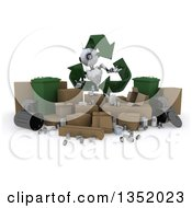Clipart Of A 3d Futuristic Robot In A Triangle Of Recycle Arrows Over Boxes And Bins On A Shaded White Background Royalty Free Illustration