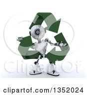 Clipart Of A 3d Futuristic Robot In A Triangle Of Recycle Arrows On A Shaded White Background Royalty Free Illustration by KJ Pargeter