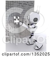 Clipart Of A 3d Futuristic Robot Inserting The Last Piece Of A Silver Puzzle Wall On A Shaded White Background Royalty Free Illustration