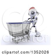 Clipart Of A 3d Futuristic Robot Wearing A Christmas Santa Hat And Pushing A Shopping Cart On A Shaded White Background Royalty Free Illustration