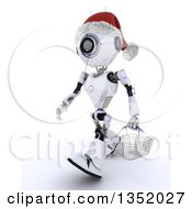 Clipart Of A 3d Futuristic Robot Wearing A Christmas Santa Hat And Carrying A Shopping Basket On A Shaded White Background Royalty Free Illustration