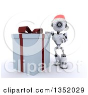 Clipart Of A 3d Futuristic Robot Wearing A Christmas Santa Hat And Leaning Against A Big Gift On A Shaded White Background Royalty Free Illustration