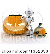 Clipart Of A 3d Futuristic Robot Leaning Against A Giant Halloween Jackolantern Pumpkin On A Shaded White Background Royalty Free Illustration
