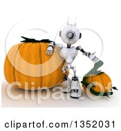 Clipart Of A 3d Futuristic Robot Leaning Against And Presenting Halloween Pumpkins On A Shaded White Background Royalty Free Illustration