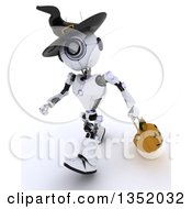 Clipart Of A 3d Futuristic Robot Wearing A Witch Hat And Trick Or Treating With A Halloween Pumpkin Basket On A Shaded White Background Royalty Free Illustration
