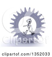Clipart Of A 3d Futuristic Robot Walking In A Giant Gear Cog Wheel On A Shaded White Background Royalty Free Illustration