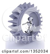 Clipart Of A 3d Futuristic Robot Walking Inside A Giant Gear Cog Wheel On A Shaded White Background Royalty Free Illustration