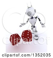 Clipart Of A 3d Futuristic Robot Tossing Dice On A Shaded White Background Royalty Free Illustration