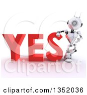 Clipart Of A 3d Futuristic Robot Resting An Arm On And Presenting The Red Word YES On A Shaded White Background Royalty Free Illustration