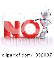 Clipart Of A 3d Futuristic Robot Resting An Arm On And Presenting The Red Word NO On A Shaded White Background Royalty Free Illustration